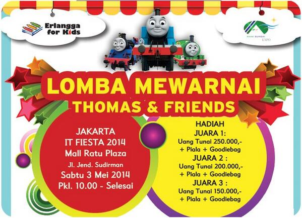 Erlangga For Kids On Twitter Lomba Mewarnai Thomas Friends