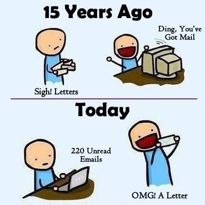 Courrier VS eMail. Ou comment notre rapport aux choses a évolué en 10 ans ! ;) http://t.co/HFJXsmCLCl