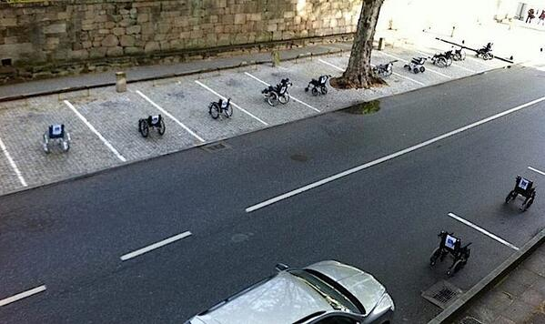 "Brilliant protest in Lisbon: Wheelchairs parked with notes on them ""be right back"" and ""just getting something"". http://t.co/iFHdG0yf2T"""