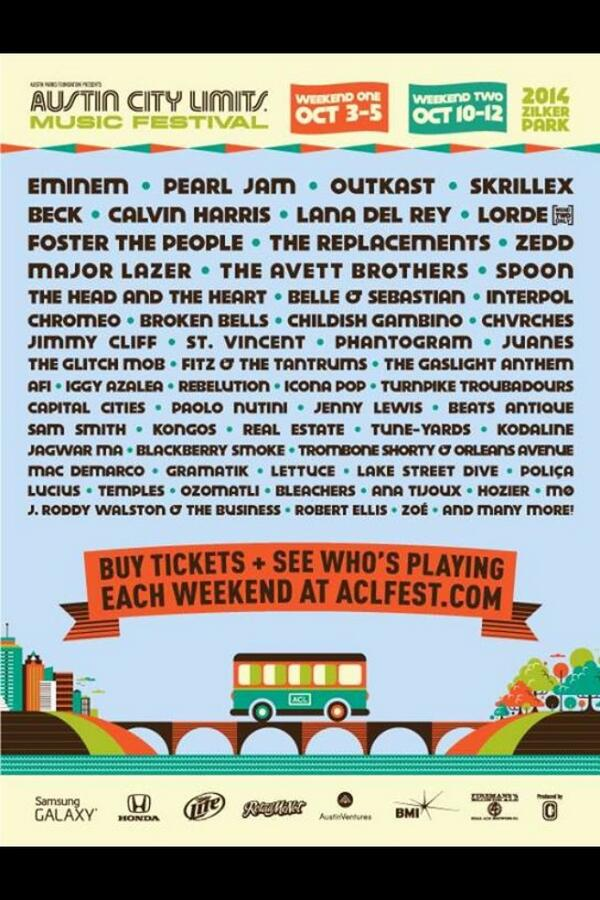 Here is the extended ACL lineup. Zedd, Phantogram, AFI, Childish Gambino and more. Who are you most excited about? http://t.co/0Ey1k9wkIX