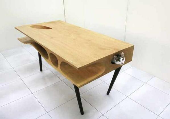 ネコトンネル付きテーブル。ちょ、かわいいじゃないか!#猫物欲 http://t.co/YFLxcbgE8q