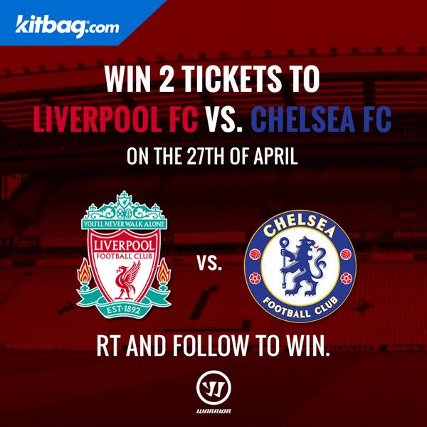 c24ea0cb5f  RT and  Follow  KitbagUK to win tickets to the  LFC vs  Chelsea match  thanks to  warrior FTBLpic.twitter.com 9STR49wVUu