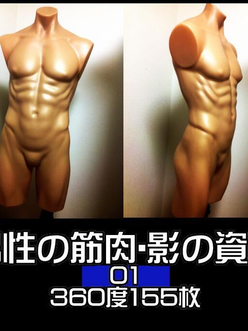 【原稿支援】男性の筋肉、身体の形、影の付け方がわからない!と悩みませんか? マイマネキンを、光源固定で360度撮影したものを、素材資料として公開しました。無料です。裸シーンが多い方も是非!