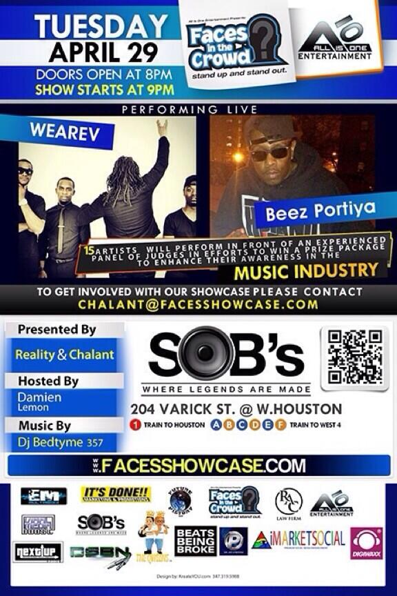 COME SUPPORT MY BROTHERS OF @WeAreV AS THEY BLESS THE STAGE AT SOB's!!!!!!! #weworking #progress http://t.co/a6KSkpK0U9