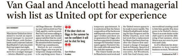 Van Gaal & Carlo Ancelotti top Man United shortlist to fill managerial void left by Moyes [Independent]