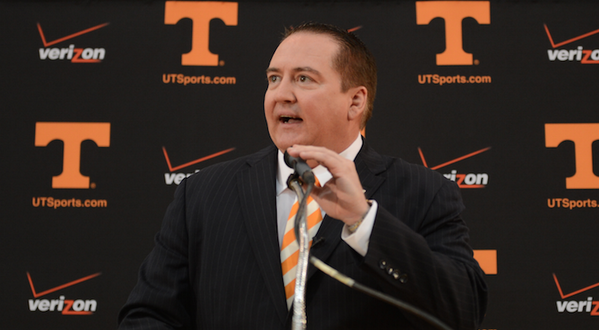 @UTCoachTyndall begins his opening statement as the 19th head basketball coach of @Vol_Hoops - http://t.co/EG7dUghMXE