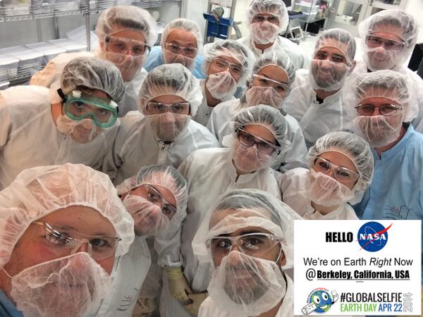 Happy #EarthDay! We're celebrating today with a #GlobalSelfie from our cleanroom at the Molecular Foundry! @ENERGY http://t.co/NR0kT6gkBi