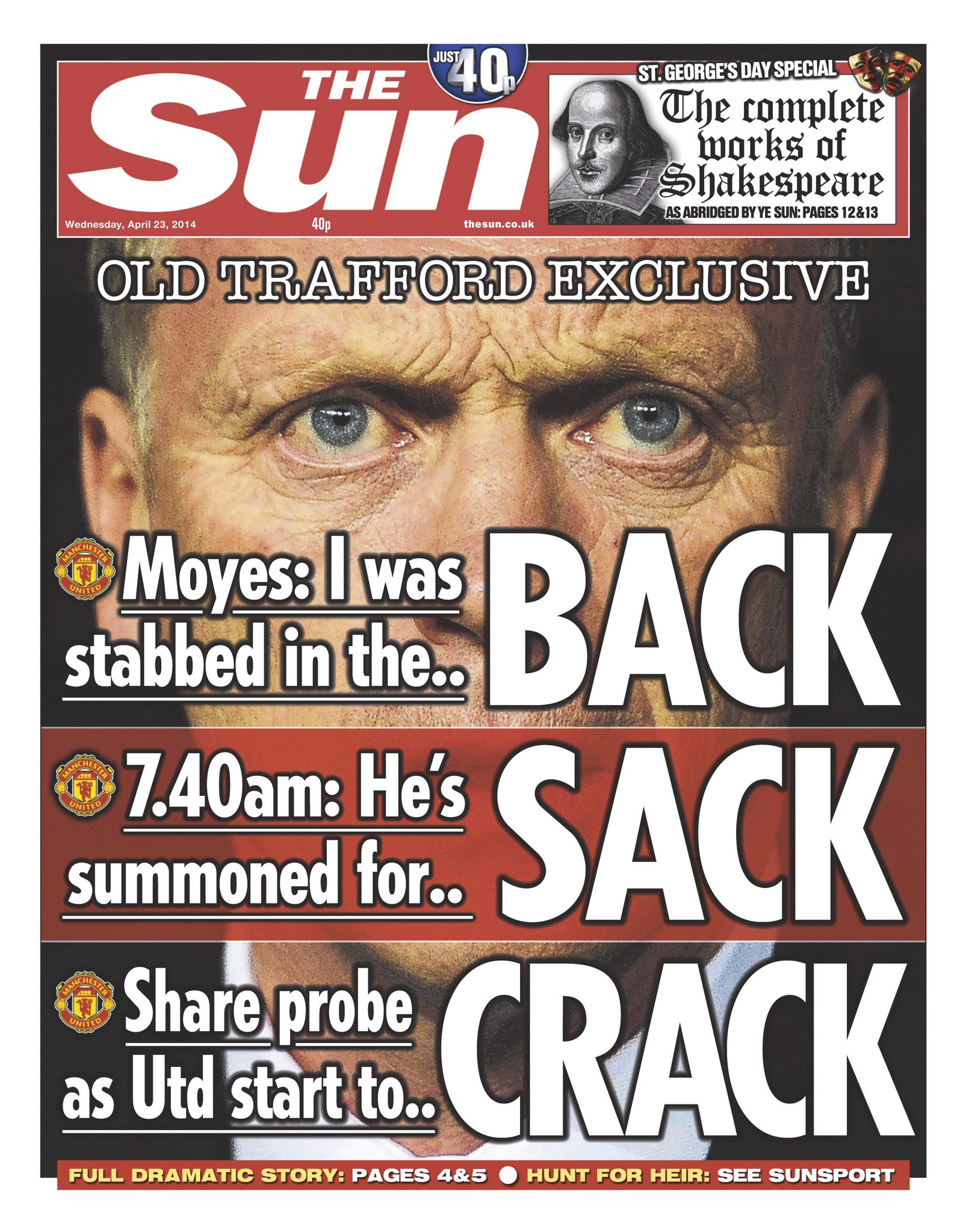 The Suns outrageous Back, Sack & Crack splash on David Moyes sacking from Man United [Picture]