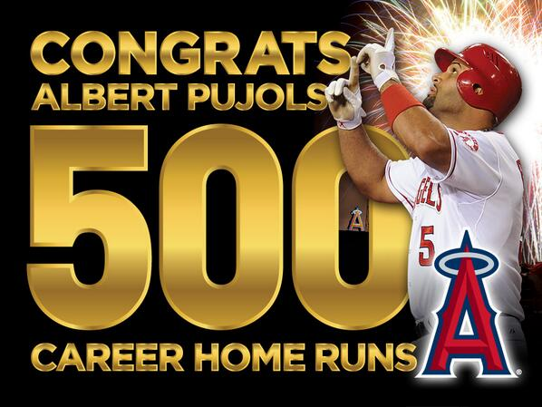 He's Done it! @PujolsFive is now one of the 26 sluggers in MLB history to hit 500 career home runs!!!!!! #RoadTo500 http://t.co/msaUgwZir9