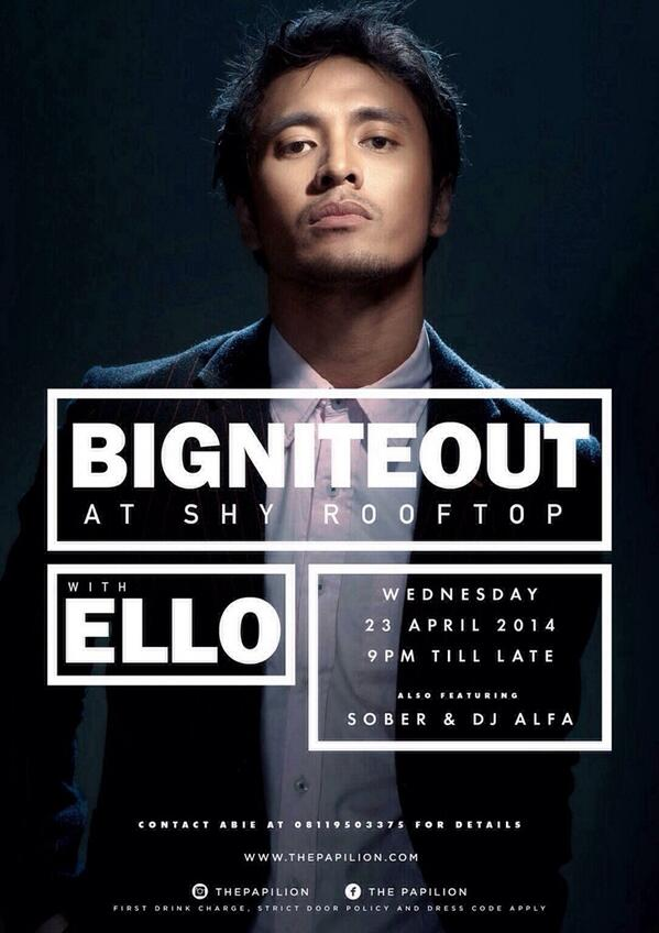 TONIGHT! BIG NITE OUT at SHY Rooftop with ELLO Be there guys! ;) Are you #InOrOut ? #neversaymaybe #mslideproject http://t.co/71xwMw6bRm