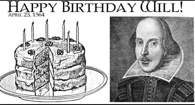 Today's Shakespeare's 450th birthday! Felicitations on the anniversary of your natal day Will. The baddest bard ever! http://t.co/iqpzW1Xtl8