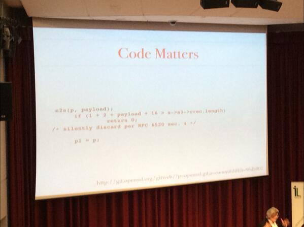 This is the solution to Heartbleed! Code matters! #lilac14 http://t.co/yu89gR905j