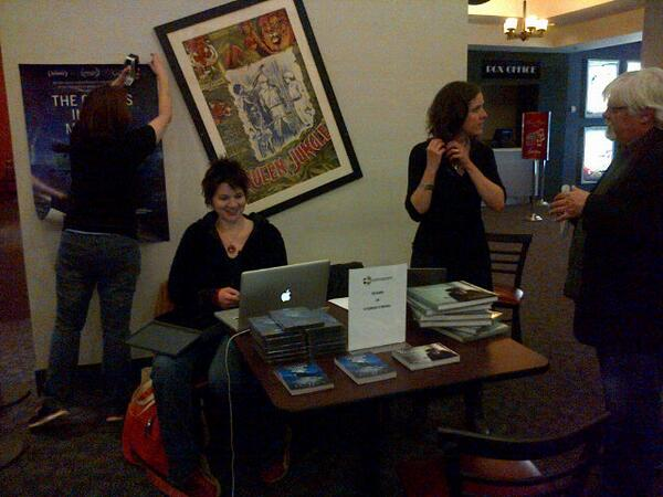 Director #LizMarshall setting up her table at the @GhostsMovie screening with @opencinema #ForTheGhosts http://t.co/PDQdNTaWGf