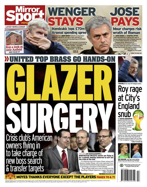 Van Gaal wants Roy Keane as an assistant at Man United as Glazers get ready for 2nd meeting [Independent]