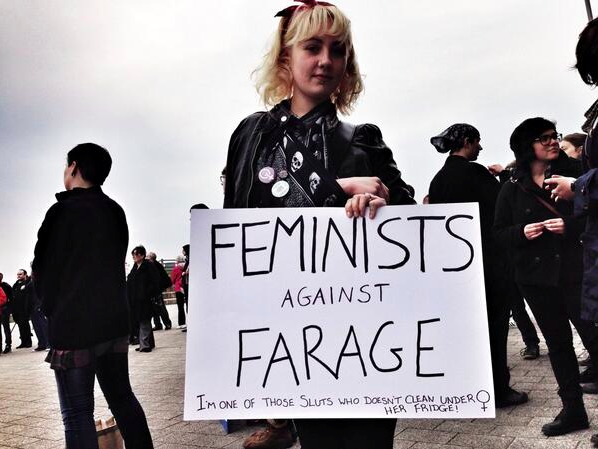 Feminist demonstrator against Ukip