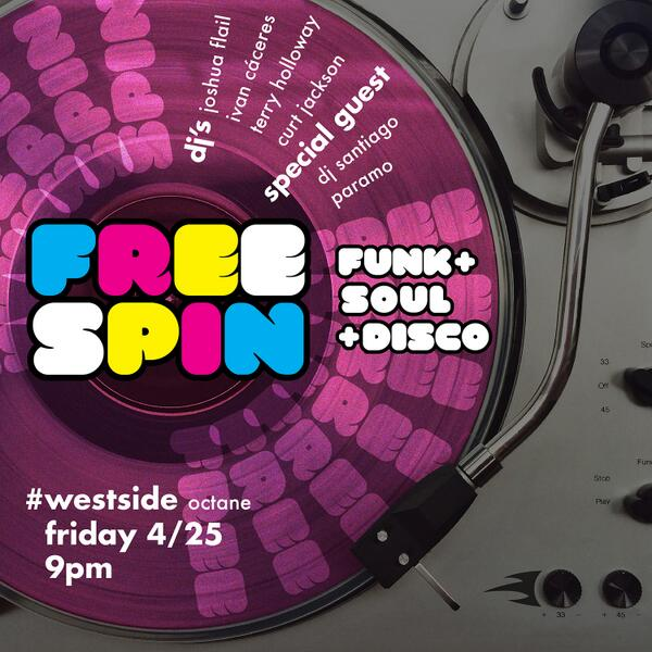 THIS FRIDAY 4/25 @FREESPIN_ATL! @octanecoffee #westside - no cover / all vinyl + guest DJ Santiago Paramo! http://t.co/3QGxL0J8oT