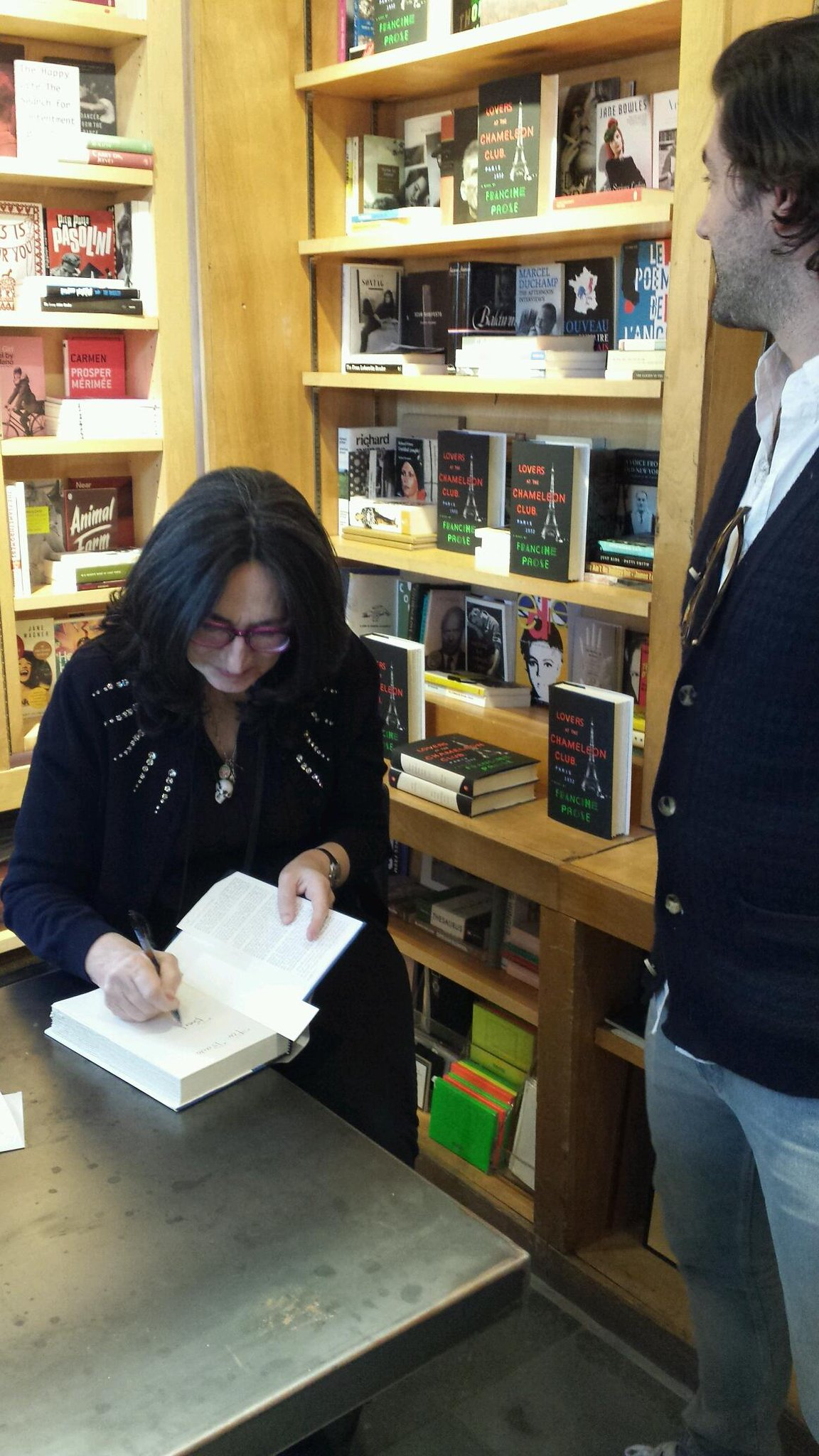 The lovely @FrancineProse signing a lucky fan's copy of Lovers at the Chameleon Club. Come to #Bookmarc & say hi! http://t.co/WBmsKqt1uE