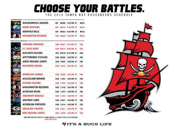 Tampa Bay Buccaneers On Twitter Check Out The 2014 Bucs Schedule Here Http T Co A7jl20xuzk What Game Are You Most Excited For In 2014 Http T Co W7zd5o9wae