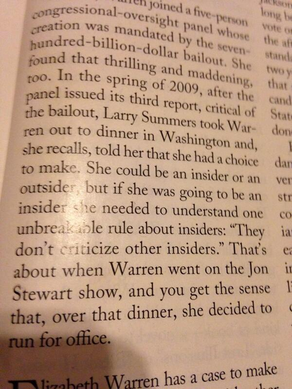 "How To Be An Insider Rule #1: "" Don't  criticize other insiders."" -Larry Summers to Elizabeth Warren. Yep. http://t.co/jRP2BRhtrJ"