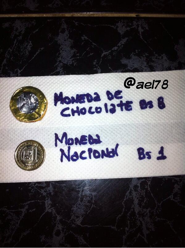 Profesor @JoseAGuerra como se explica que Una Moneda de Chocolate cueste 8bs y la Moneda Nacional vale 1bs? http://t.co/gtmYNu8gOO
