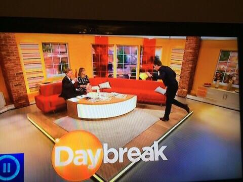 Glad you caught the deliberate pratfall on @Daybreak! One for @kategarraway & @realaled #demobhappy http://t.co/4ujCsfmrfu