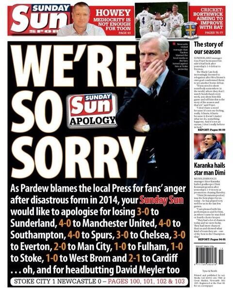 local press to response to Pardew blaming them for recent slump in Newcastle form isn't understated http://t.co/DUy1F97dkl