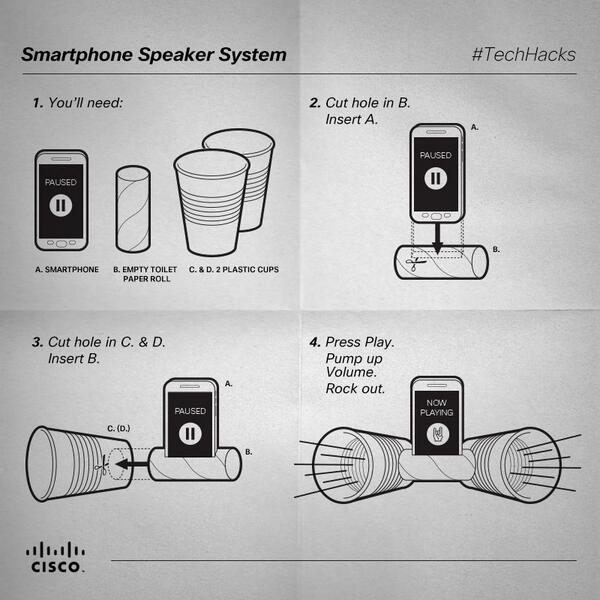 Speakers not working? Tired of those earbuds? Try this simple solution and enjoy your music! #TechHacks http://t.co/b4x2KpxrQ3