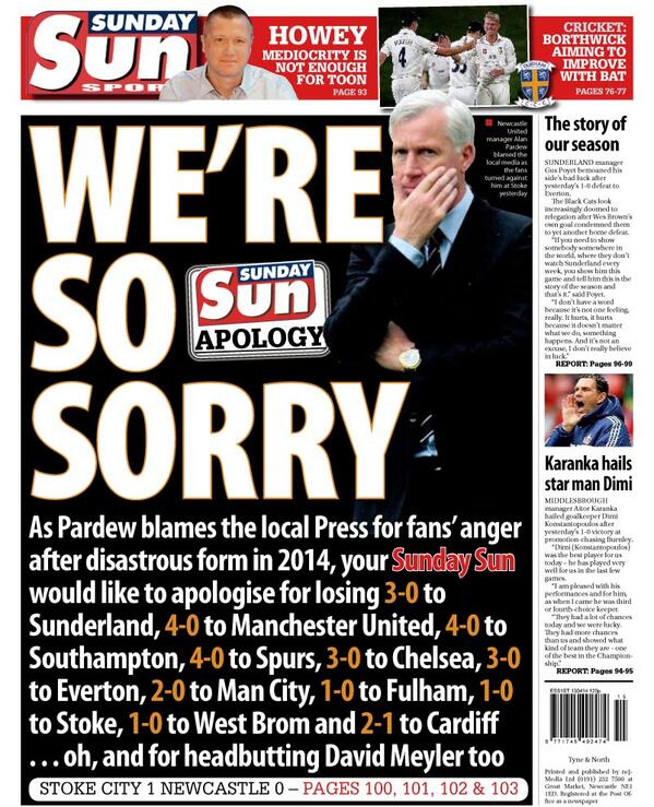 Brilliant Sunday Sun back page hits back at Alan Pardew for blaming Newcastle fan anger on local press