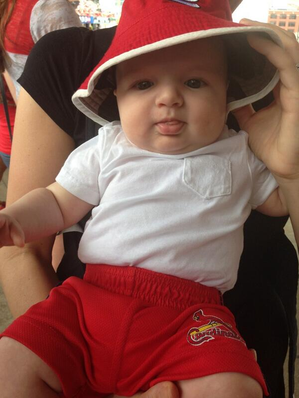 """5863cd44952 """" Cardinals  Baby Luke enjoying his first  STLCards game today! pic.twitter.com jAUfP3Vgnd""""  Do I have a cute baby cousin"""