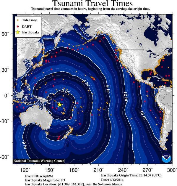 Alerta de tsunami despues de un terremoto de 8.3 en las Islas de Solomon.
