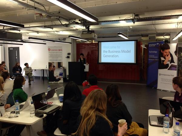 Learning about the Business Model Canvas at the @CodeFirstGirls first ever hackathon! #CFGHack http://t.co/CsnNHJ4zBv