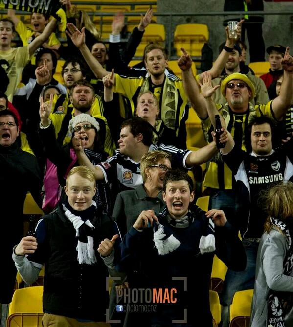 Great pic from @NZPhotomac of @YellowFever_NZ and @gomvfc fans united http://t.co/BU8oKeVQHU
