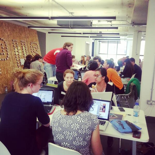 The first ever @CodeFirstGirls hackathon is in full swing #CFGHack. Some great ideas being developed http://t.co/mGiPlnTd2g