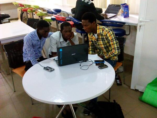 Hackathon is on and teams are coding:putting up finishing touches  @sjseye @spaceappslag @MicrosoftDPE_Ng #SpaceApps http://t.co/fLR5ckUKTO