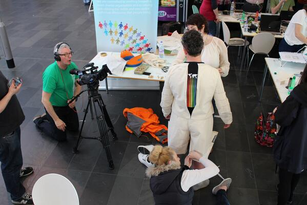 Trying on the spacesuit, lets hope it fits #SpaceApps http://t.co/vUfOXRFIQI
