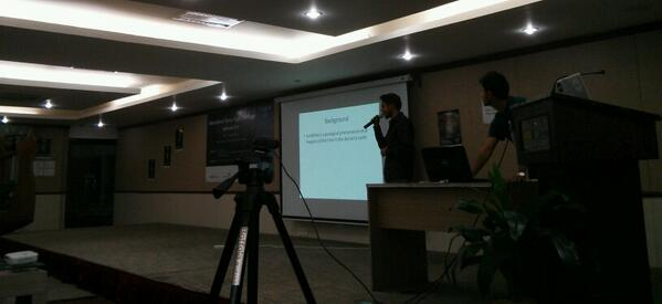 Team Mapslide presenting at spaceapps challenge #SpaceApps Kathmandu http://t.co/NyplcYWPo7