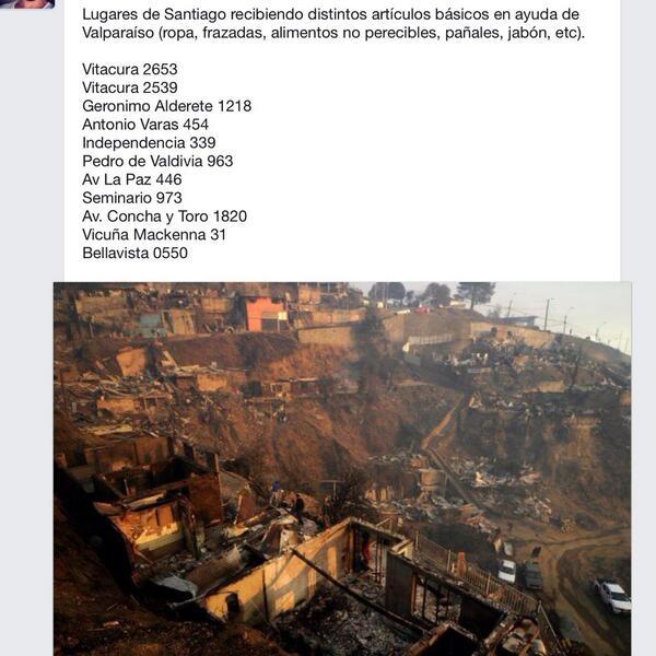 Lugares de Santiago recibiendo ayuda en artículos básicos para gente de #Valparaiso RT RT http://t.co/y8qovrw5FY