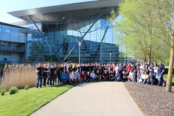 The #spaceapps hackers, judges and organisers outside the @metoffice #Exeter http://t.co/djUP7MYFMh