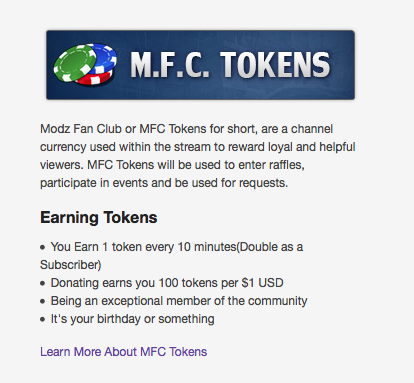 How much is a token on mfc