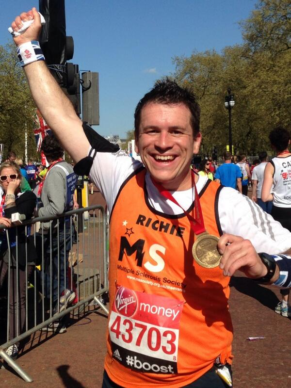 An amazing day. 5'21 for my first London Marathon. Done. #RunRichieRun #MSSuperstars http://t.co/g1IW0BOebL
