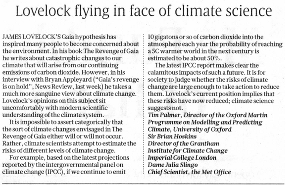 Britain's Warmist Climate Establishment Attack Green Guru James Lovelock for Daring To Dissent on Global Warming