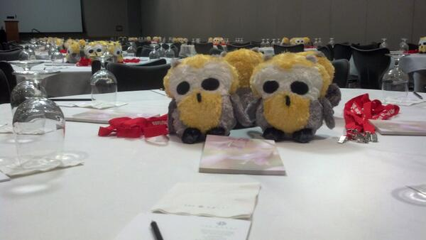 """@scsdmedia: Kind of scary looking RT @erniec: The @MACKIN_Talk owls awaiting #iasl14 attendees http://t.co/sDzVhX8g3v"""