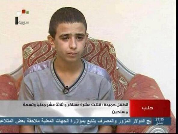 Poor little boy, This kid is confessing on #Syria's state TV that he killed 10 soldiers 13 civilian & 7 armed men. http://t.co/2TbNAcjFRS