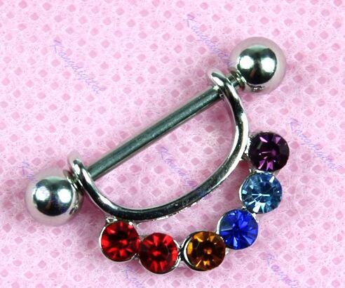 coloured #Rhinestone #chakra nipple #jewellery