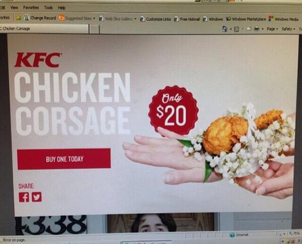 Can someone please explain the #kfc chicken corsage to me? Thanks. #chickencorsage http://t.co/JPezlz5o1c