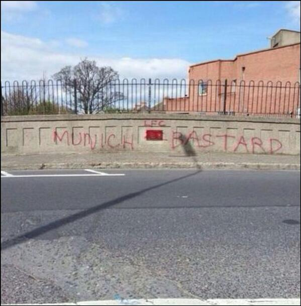Irish fans deliver a perfect response to offensive Munich Air Disaster graffiti tagged by a Liverpool fan [Pictures]
