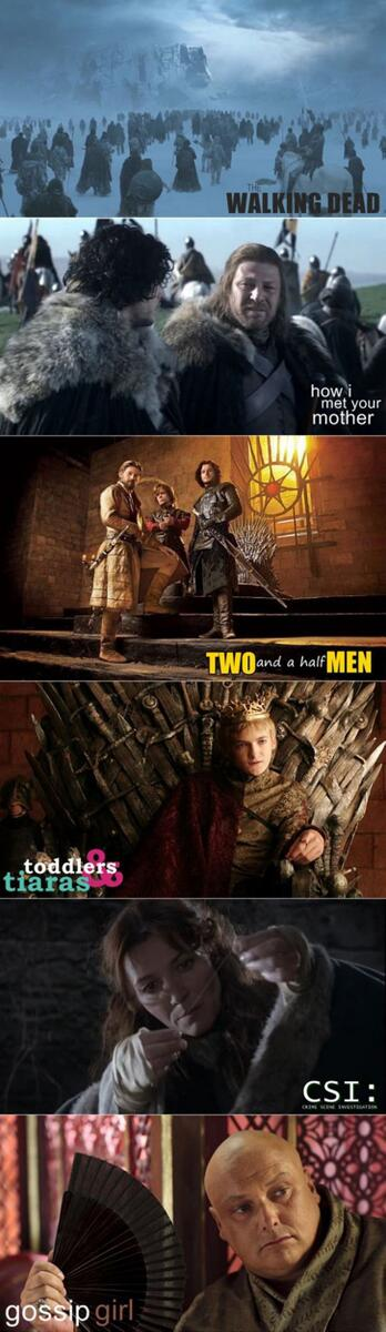 Game of Thrones : 6 séries en 1. ^^ (v/ Imgur) #GoT http://t.co/WCOdKwK3kG