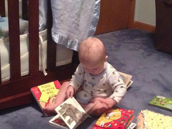 Luke getting some early afternoon light reading in. #upsidedownreader <br>http://pic.twitter.com/9zyNJOG1Ag