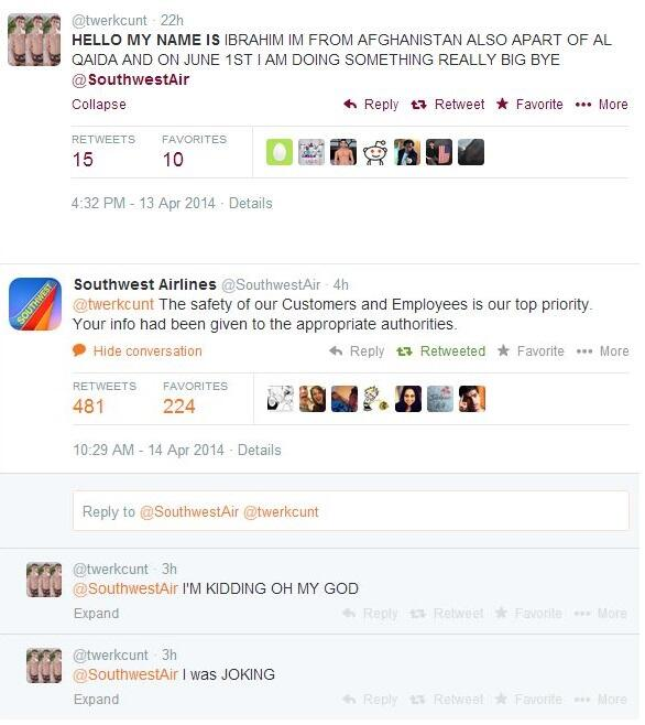 And today's Twitter terrorism joke: @twerkcunt vs @SouthwestAir http://t.co/MVy2cJdmyA