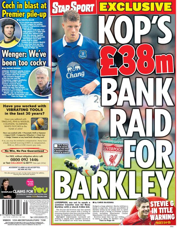 Liverpool preparing £38 million move for Evertons Ross Barkley [Star Sport]